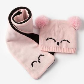 """Комплект детский (шапка, шарф) MINAKU """"Мордашка"""", вид 1, размер 52-54, цвет розовый/чёрный"""