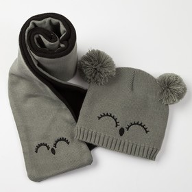 "Baby set (hat, scarf) MINAKU ""Face"", type 1, size 52-54, color gray/black"
