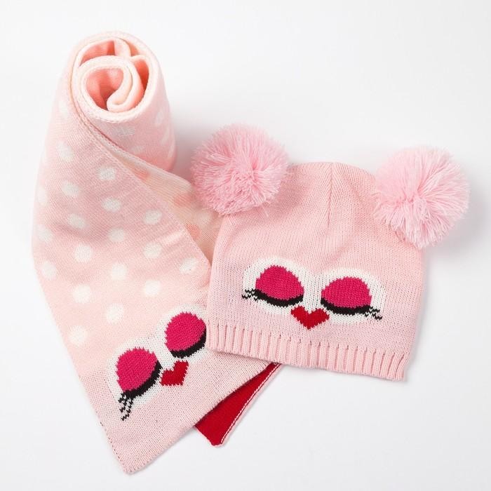 """Комплект детский (шапка, шарф) MINAKU """"Мордашка"""", вид 2, размер 52-54, цвет розовый"""