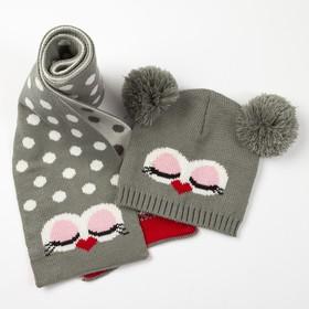 "Комплект детский (шапка, шарф) MINAKU ""Мордашка"", вид 2, размер 52-54, цвет серый"