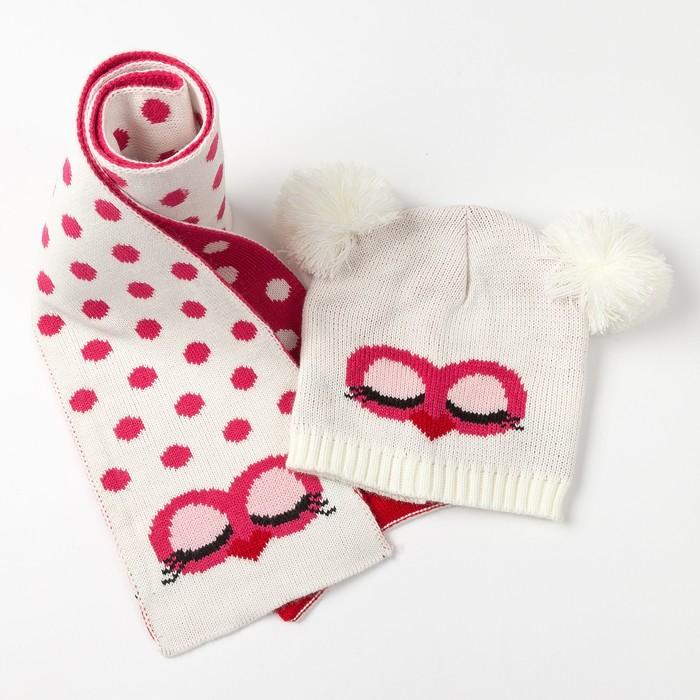 """Комплект детский (шапка, шарф) MINAKU """"Мордашка"""", вид 2, размер 52-54, цвет белый"""