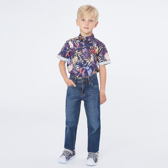 Рубашка с коротким рукавом для мальчика, цвет синий, рост 110 (5 лет) - фото 1937039