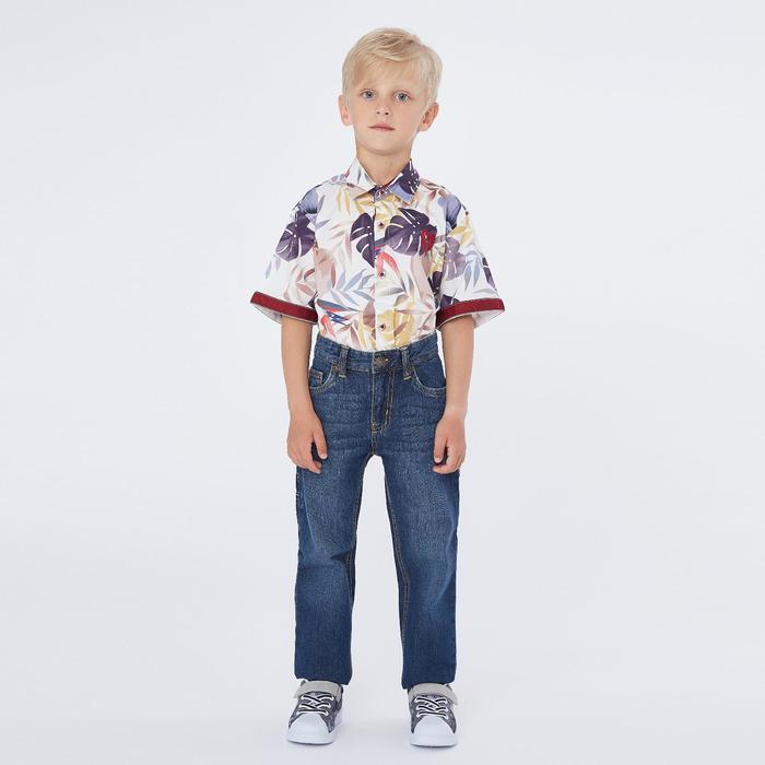 Рубашка с коротким рукавом для мальчика, цвет молочный, рост 134 (9 лет) - фото 76461856