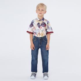 Рубашка с коротким рукавом для мальчика, цвет молочный, рост 140 (10 лет)