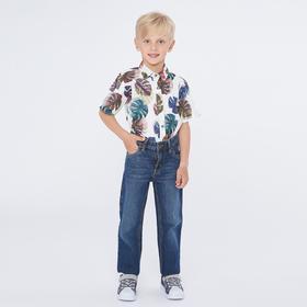 Рубашка для мальчика с коротким рукавом, цвет белый, рост 116 ( 6 лет)