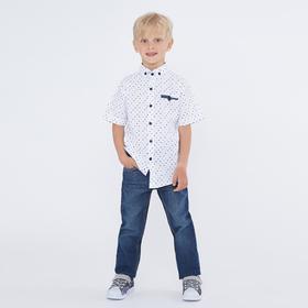 Рубашка с коротким рукавом для мальчика, цвет белый, рост 116 (6 лет)