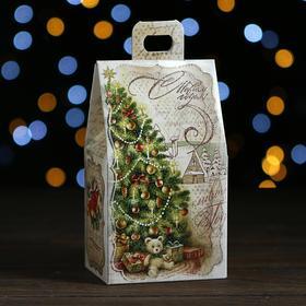 "A cardboard box ""House with tree"", 9.1 x 7 x 15.7 cm"