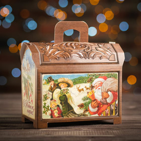 "A cardboard box ""Box wooden"", 14 x 8 x 12 cm"
