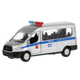 Машина «Полиция Ford Transit», 12 см, инерционная, открывающиеся двери, металлическая