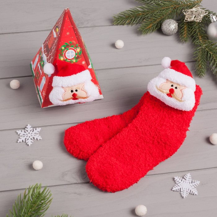 """Носки детские в подарочной коробке """"Дед Мороз"""", 12-22см, красный"""