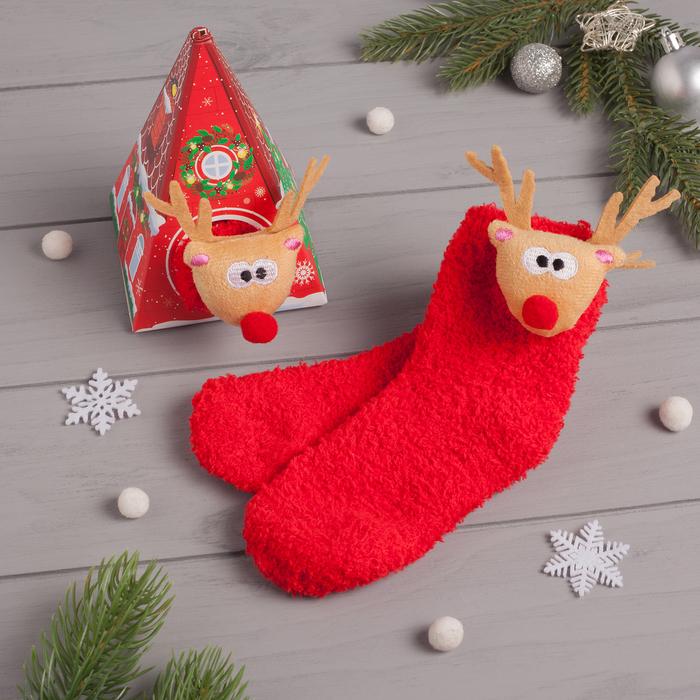 """Носки детские в подарочной коробке """"Олень"""", 12-22см, красный"""
