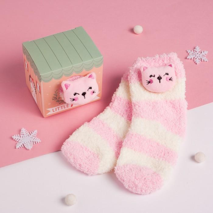 """Носки детские в подарочной коробке """"Кошечка"""", 12-22см, белый, розовый"""