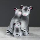 "Копилка ""Крыса семья"" флок серый"