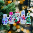 Набор ёлочных подвесок «Новогодний», 5 шт, 3×8 см, микс, ручная роспись