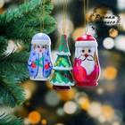 Набор ёлочных подвесок «Новогодний», 3 шт, 3×8 см, микс, ручная роспись