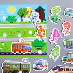 Развивающая игра на липучках, конструктор «Веселые липучки. Изучаем транспорт», ФИКСИКИ