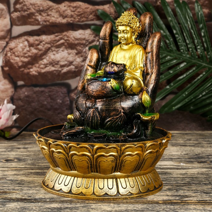 """Фонтан настольный полистоун от сети свет """"Будда на руке с лотосом"""" 27х20х20 см"""