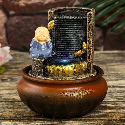 """Фонтан настольный полистоун от сети свет """"Маленький хотей у фонтана-дождь"""" 20х16х16 см"""