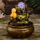 """Fountain Polyresin table from a network of light """"Little Buddha with Kupavna"""" 20х16х16 cm"""