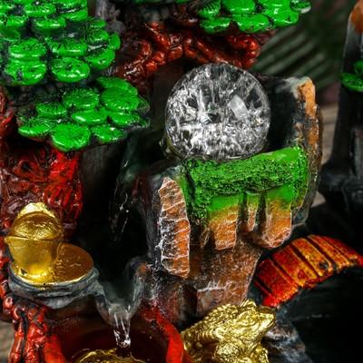 """Фонтан настольный полистоун от сети свет """"Мельница, жаба и слитки золота"""" 29х19х29 см"""