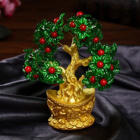 """Сувенир бонсай """"Цветочное денежное дерево в слитке"""" 35 цветов 19х19х5 см"""