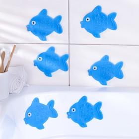 Набор мини-ковриков для ванны «Рыбка», 11×12 см, 6 шт, цвет МИКС