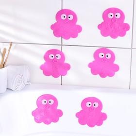 Набор мини-ковриков для ванны Доляна «Медуза», 11×12 см, 6 шт, цвет МИКС
