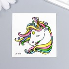 """The tattoo on the body colored """"Unicorn with rainbow mane"""" 6x6 cm"""