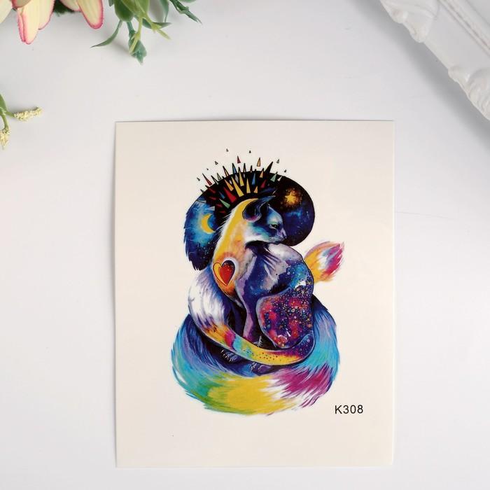 """Татуировка на тело цветная """"Ночной кот"""" 10х8 см"""
