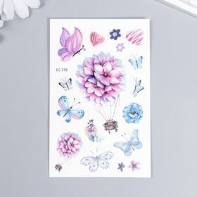 """Татуировка на тело цветная """"Цветы и бабочки"""" 12х7,5 см"""