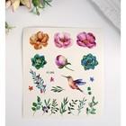 """Татуировка на тело цветная """"Цветы, кактусы и разнотравье"""" 12х10,5 см"""