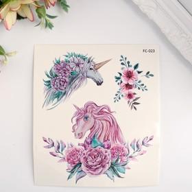 """Татуировка на тело цветная """"Единороги и цветы"""" 12х10,5 см"""