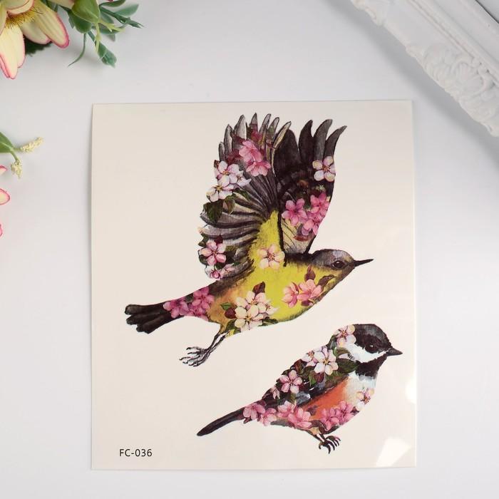 """Татуировка на тело цветная """"Птицы в цветах"""" 12х10,5 см"""