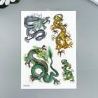 """Татуировка на тело цветная с блёстками """"Драконы"""" 14,8х10,5 см"""