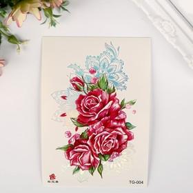"""Татуировка на тело цветная с серебром """"Розы и мехенди"""" 15х10,5 см"""