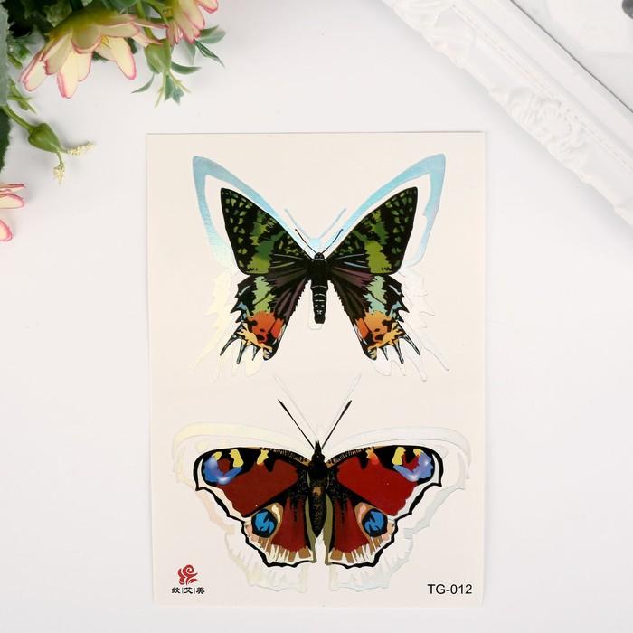 """Татуировка на тело цветная с серебром """"Бабочки"""" 15х10,5 см"""