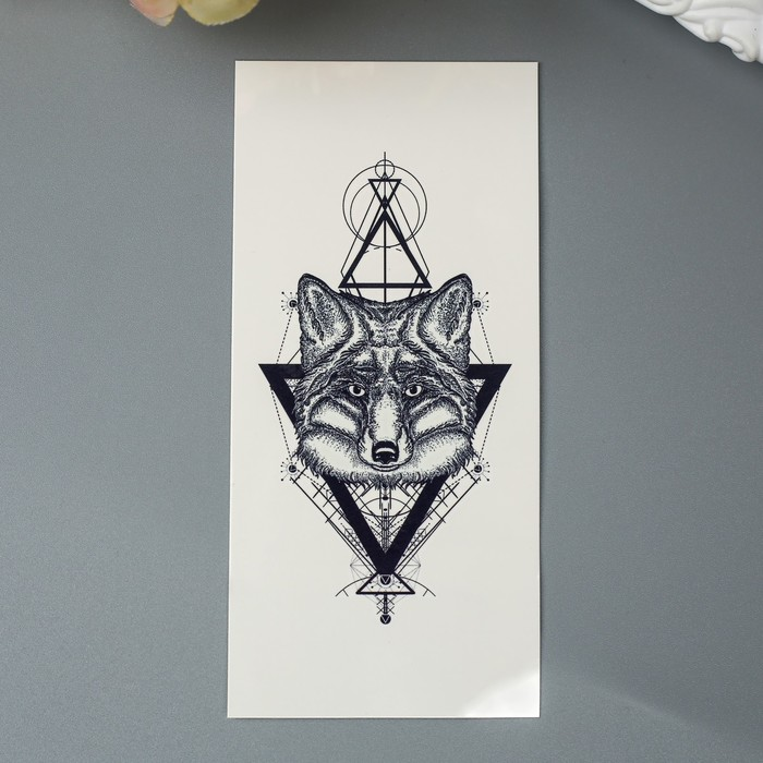 """Татуировка на тело """"Лиса с треугольниками"""""""