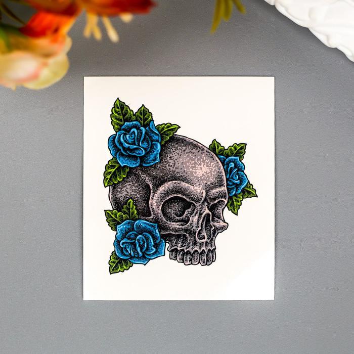 """Татуировка на тело """"Череп с синими розами"""""""