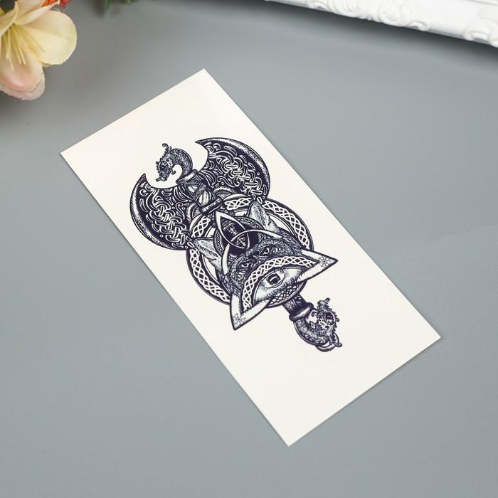 """Татуировка на тело """"Кельтский топор с лисой"""""""