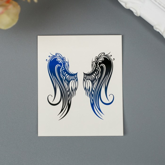 """Татуировка на тело """"Крылья с синим градиентом"""""""