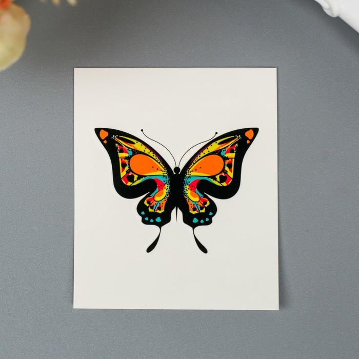 """Татуировка на тело """"Бабочка с цветным узором"""""""