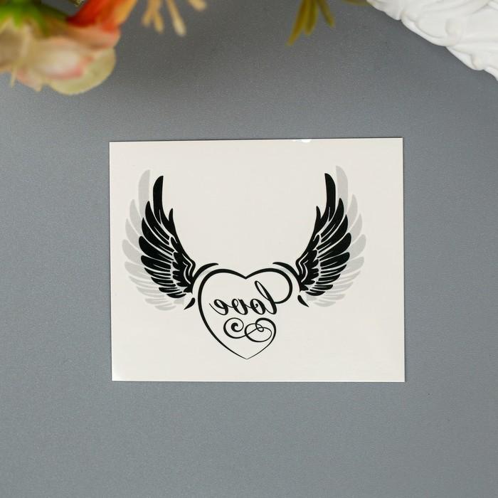 """Татуировка на тело """"Крылья с надписью """"Love"""""""