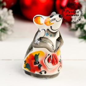 Сувенир «Мышка с платочком», 10 см, цвет, гжель