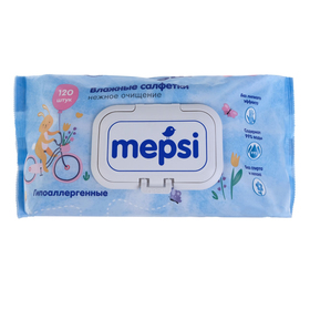 Влажные салфетки детские, Mepsi, гипоаллергенные  , 120 шт