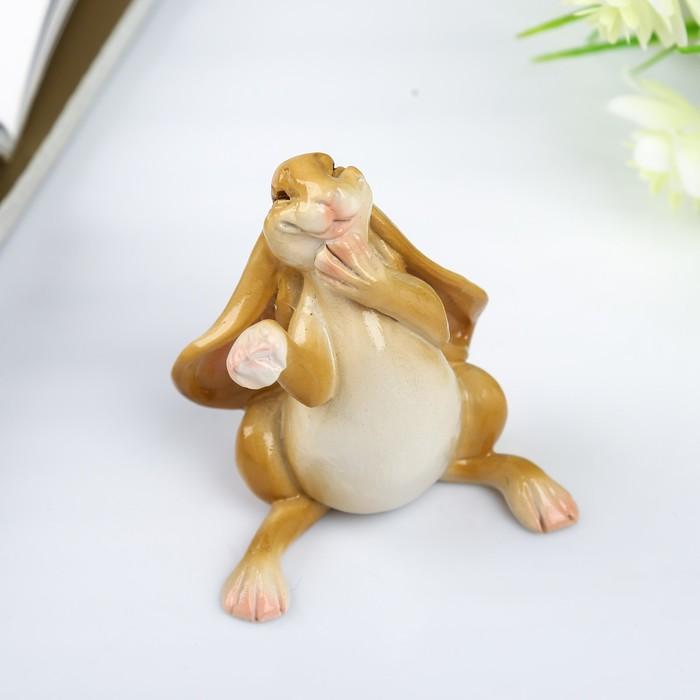 "Сувенир полистоун миниатюра ""Счастливый заяц"" 7х5,5х7 см - фото 798245685"