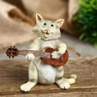"""Сувенир полистоун миниатюра """"Котик-гитарист"""" 9х4х9 см"""