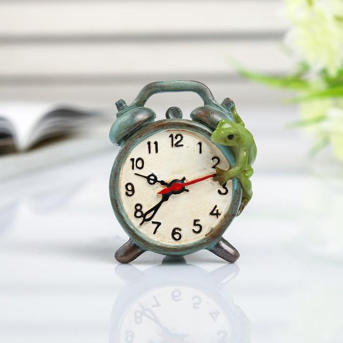 """Сувенир полистоун миниатюра """"Лягушка на будильнике"""" 6х3х5 см - фото 798245779"""
