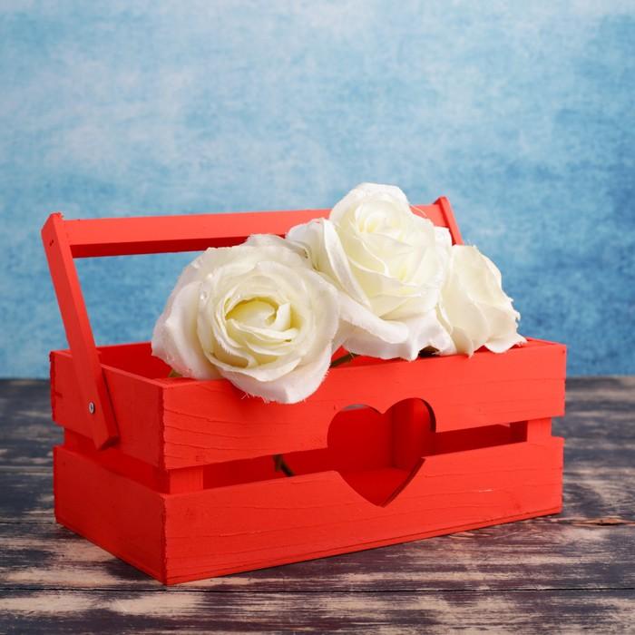 """Кашпо деревянное 24.5×13.5×9 см """"Двушка Лайт"""" реечное, сердце, красный Дарим Красиво - фото 7262951"""