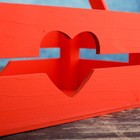 """Кашпо деревянное 24.5×13.5×9 см """"Двушка Лайт"""" реечное, сердце, красный Дарим Красиво - фото 7262953"""