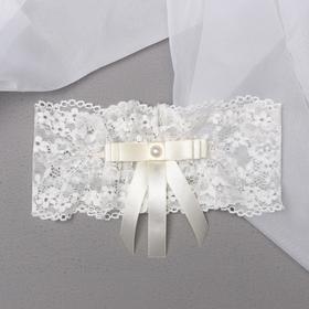 """Garter for the bride """"Wedding"""", white"""